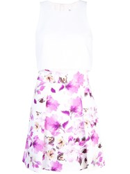 Black Halo Faded Floral Print Skirt White