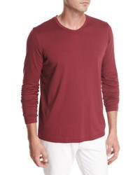 Loro Piana Long Sleeve Cotton Crewneck T Shirt Red