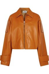 Acne Studios Lozoa Cropped Leather Jacket Light Brown