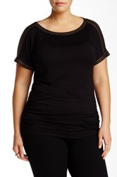 Premise Studio Boatneck Embellished Blouse Plus Size Black