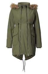 Noppies Women's Malin Two Way Maternity Jacket With Faux Fur Trim Dark Army