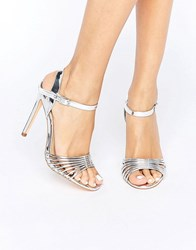 New Look Metallic Barely There Heeled Sandal Silver
