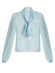 Dolce And Gabbana Tie Neck Silk Chiffon Blouse Light Blue