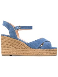 Castaner Wedged Sandals Women Cotton Leather Rubber 39 Blue