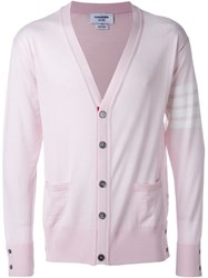 Thom Browne V Neck Cardigan Pink And Purple