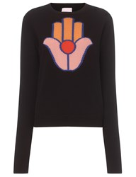 Alexander Lewis Black Hamsa Hand Motif Sweater To Be Reshot On 10 05 15 Style Notes May Need To Be Amended.
