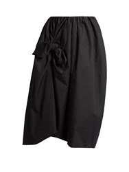 Simone Rocha Knotted Gathered Cotton Poplin Midi Skirt Black
