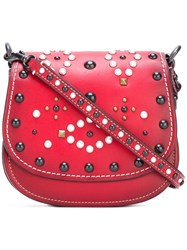 Coach Studded Saddle Cross Body Bag Red