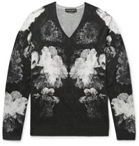 Alexander Mcqueen Slim Fit Floral Print Wool And Silk Blend Sweater Black