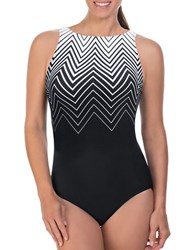 Reebok One Piece Tonal Printed Swimsuit Black