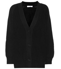 Ryan Roche Ribbed Cashmere Cardigan Black