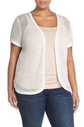 Vince Camuto Open Front Cardigan Plus Size White