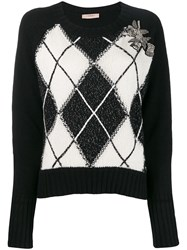 Twin Set Boxy Jumper With Diamond Inlays Black