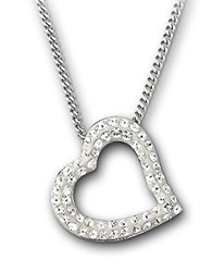 Swarovski Mozart Crystal Heart Pendant Necklace Crystal Silver