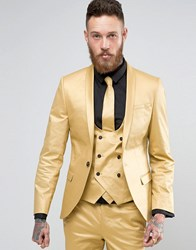 Noose And Monkey Super Skinny Suit Jacket In Metallic Gold