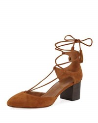 Aquazzura Boheme Suede Lace Up Pump Tan