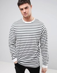 Asos Stripe Oversized Long Sleeve T Shirt With Bellow Sleeve White Black