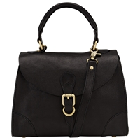 John Lewis Small Top Handle Leather Grab Bag Black