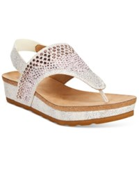 White Mountain Safari Thong Wedge Sandals Women's Shoes