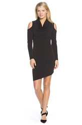 Women's Dknyc Cold Shoulder Cowl Neck Jersey Dress Black