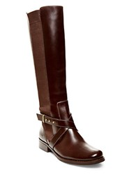 Steve Madden Sydnee Knee High Leather Boots Wide Calf Brown