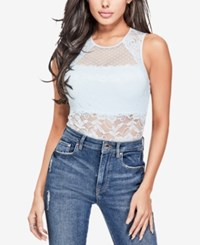 Guess Cascade Lace Illusion Top Omphalodes