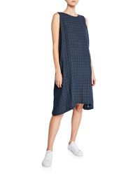 Eskandar Grid Woven Linen Sleeveless Midi Dress Navy