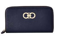 Salvatore Ferragamo Gancini Zip Around Wallet Oxford Blue Checkbook Wallet