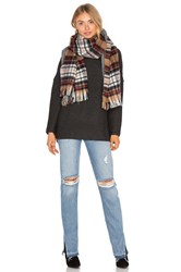 Maison Scotch Double Sided Pattern Scarf Brown