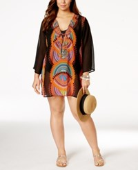 Raviya Plus Size Geo Print Chiffon Cover Up Tunic Women's Swimsuit