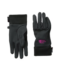 The North Face Women's Power Stretch Glove Asphalt Grey Luminous Pink Extreme Cold Weather Gloves Gold