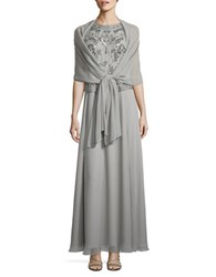 J Kara Petite Beaded Mock Top Gown Silver