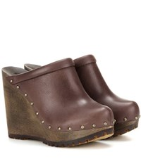 See By Chloe Leather Wedge Clogs Brown