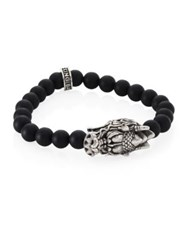 King Baby Studio 0.925 Sterling Silver Dragon's Head Lava Rock Bead Stretch Bracelet