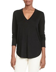 Lauren Ralph Lauren Silk Blend V Neck Sweater Black