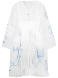 Marios Sheer Embroidered Cardigan White