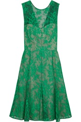Erdem Pleated Lace Embroidered Tulle Dress Green
