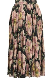 Gucci Floral Print Pleated Silk Skirt Black Antique Rose