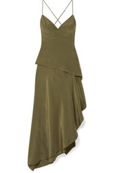 Amiri Asymmetric Silk Crepe De Chine Dress Army Green