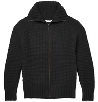 Chalayan Merino Wool And Cashmere Blend Zip Up Sweater Black