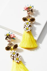 Anthropologie Isobel Tassel Drop Earrings Yellow Motif