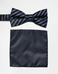 Selected Homme Bow Tie And Pocket Square Set Navy