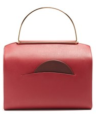 Roksanda Ilincic Signature Leather Bowling Bag Burgundy