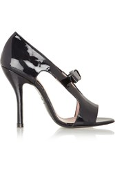 Carven Cutout Patent Leather Pumps Black