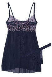 Hanky Panky Dahlia Embroidered Lace Trimmed Mesh Chemise And Thong Set Midnight Blue