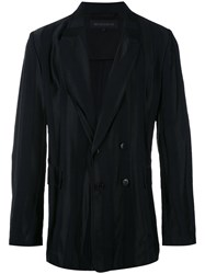 Ann Demeulemeester Grise Striped Double Breasted Blazer Men Rayon Wool S Black