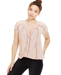 American Rag Crochet Trim Button Front Tee Only At Macy's Pale Mauve