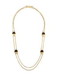 Givenchy Vintage Oval Detail Chain Necklace Metallic