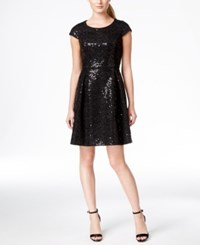 Calvin Klein Sequin Cap Sleeve Fit And Flare Dress