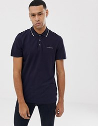 Ted Baker Polo Shirt With Tipped Collar In Navy